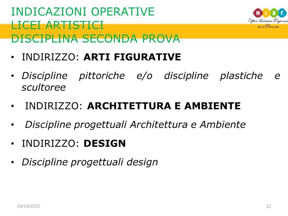Ufficio Scolastico Regionale per il Piemonte INDICAZIONI OPERATIVE LICEI ARTISTICI DISCIPLINA SECONDA PROVA INDIRIZZO: ARTI FIGURATIVE Discipline pittoriche e/o discipline plastiche e scultoree INDIRIZZO: ARCHITETTURA E AMBIENTE Discipline progettuali Architettura e Ambiente INDIRIZZO: DESIGN Discipline progettuali design 22 04/04/2015
