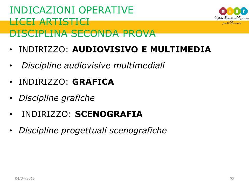 Ufficio Scolastico Regionale per il Piemonte INDICAZIONI OPERATIVE LICEI ARTISTICI DISCIPLINA SECONDA PROVA INDIRIZZO: AUDIOVISIVO E MULTIMEDIA Discipline audiovisive multimediali INDIRIZZO: GRAFICA Discipline grafiche INDIRIZZO: SCENOGRAFIA Discipline progettuali scenografiche 23 04/04/2015