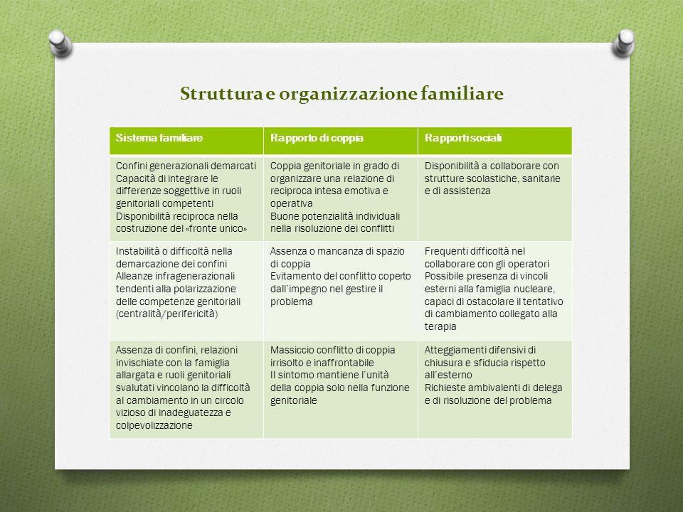 Struttura e organizzazione familiare Sistema familiareRapporto di coppiaRapporti sociali Confini generazionali demarcati Capacità di integrare le diff