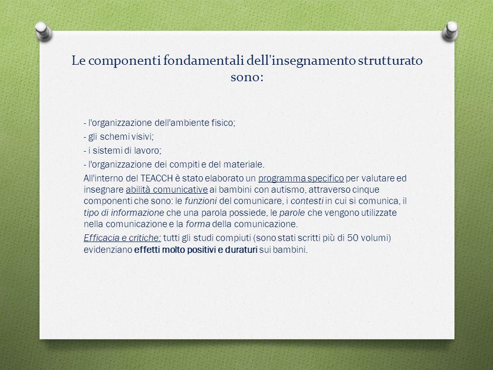 Le componenti fondamentali dell'insegnamento strutturato sono: - l'organizzazione dell'ambiente fisico; - gli schemi visivi; - i sistemi di lavoro; -