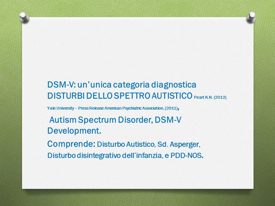 DSM-V: un'unica categoria diagnostica DISTURBI DELLO SPETTRO AUTISTICO Peart K.N. (2012). Yale University – Press Release American Psychiatric Associa