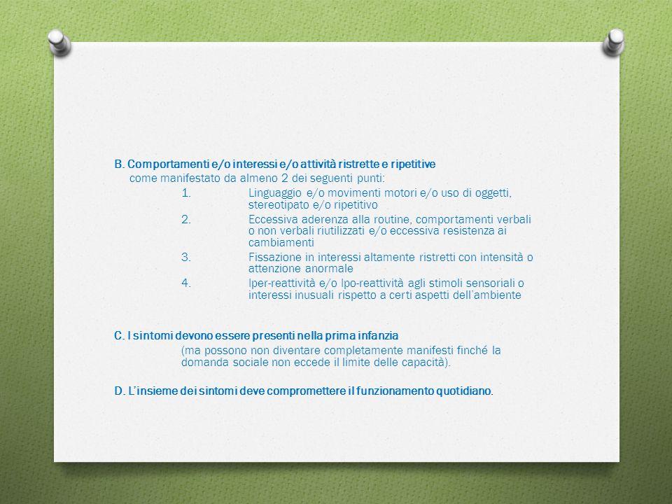 B. Comportamenti e/o interessi e/o attività ristrette e ripetitive come manifestato da almeno 2 dei seguenti punti: 1. Linguaggio e/o movimenti motori