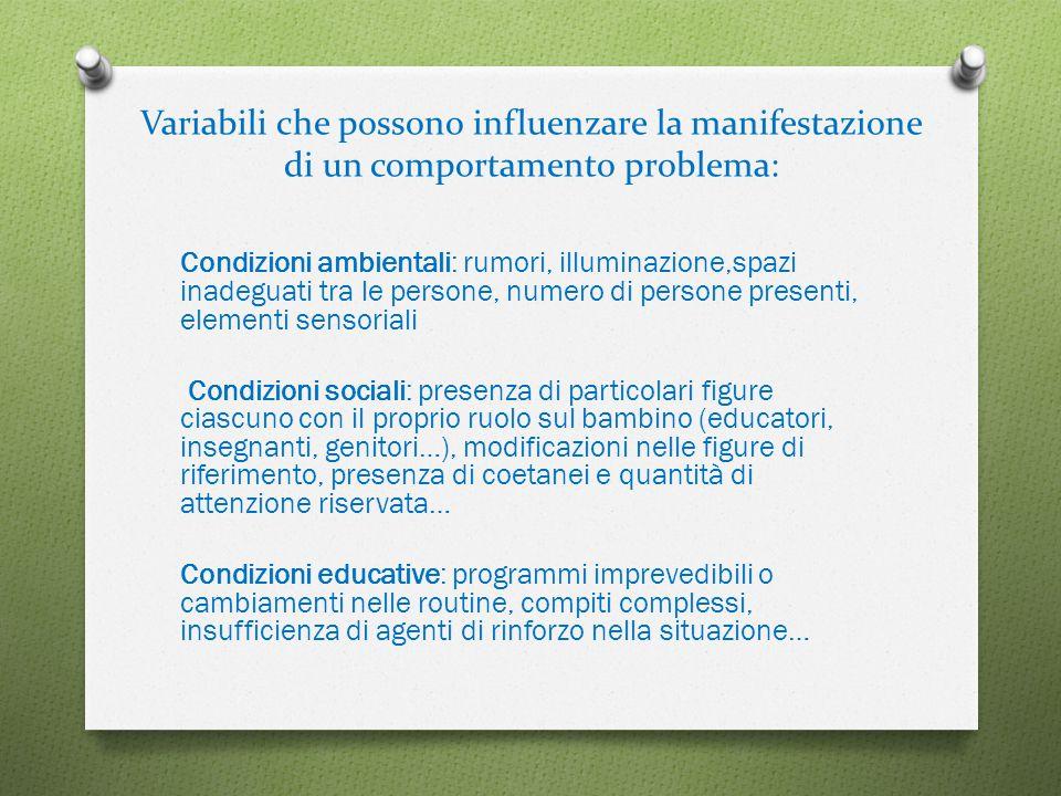 Variabili che possono influenzare la manifestazione di un comportamento problema: Condizioni ambientali: rumori, illuminazione,spazi inadeguati tra le