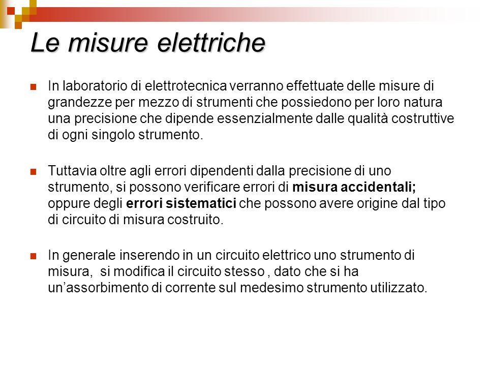 Le misure elettriche In laboratorio di elettrotecnica verranno effettuate delle misure di grandezze per mezzo di strumenti che possiedono per loro nat