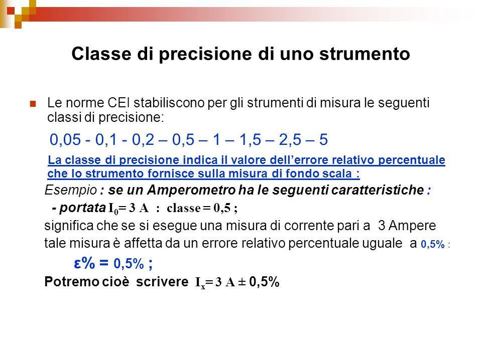 Classe di precisione di uno strumento Le norme CEI stabiliscono per gli strumenti di misura le seguenti classi di precisione: 0,05 - 0,1 - 0,2 – 0,5 –