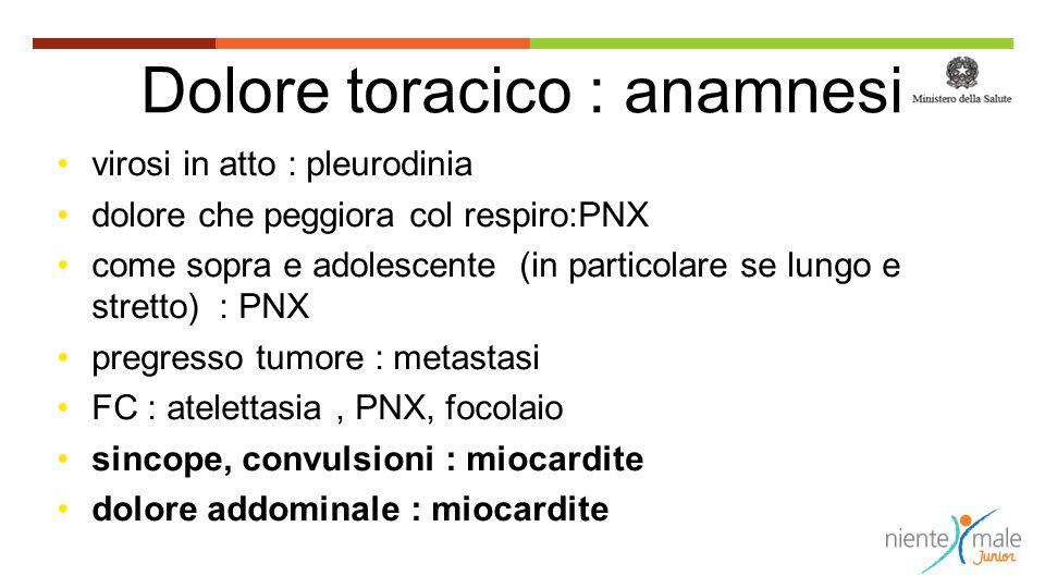 Dolore toracico : anamnesi virosi in atto : pleurodinia dolore che peggiora col respiro:PNX come sopra e adolescente (in particolare se lungo e strett