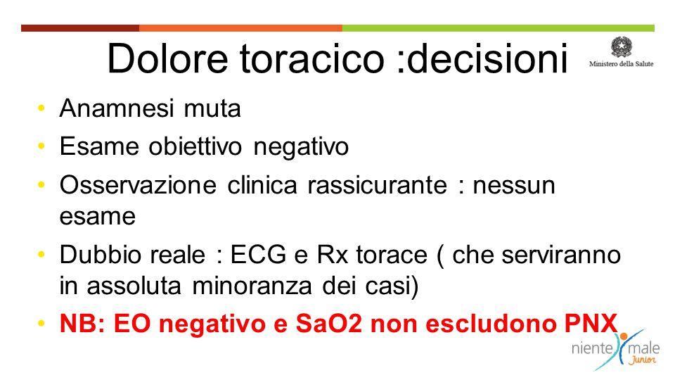 Dolore toracico :decisioni Anamnesi muta Esame obiettivo negativo Osservazione clinica rassicurante : nessun esame Dubbio reale : ECG e Rx torace ( ch