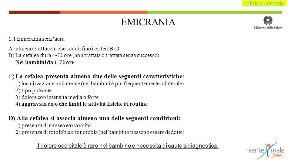 EMICRANIA 1.1 Emicrania senz'aura A) almeno 5 attacchi che soddisfino i criteri B-D B) La cefalea dura 4-72 ore (non trattata o trattata senza success