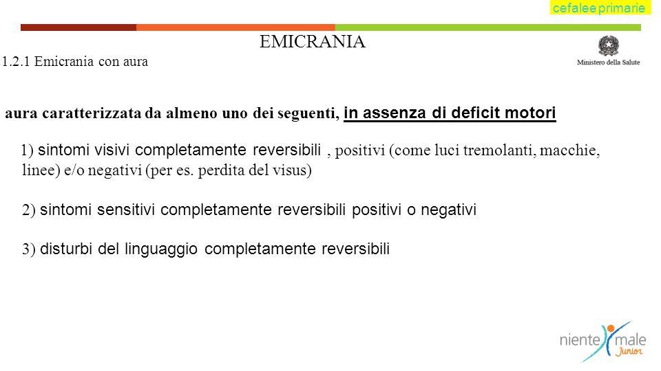 EMICRANIA 1.2.1 Emicrania con aura aura caratterizzata da almeno uno dei seguenti, in assenza di deficit motori 1) sintomi visivi completamente revers
