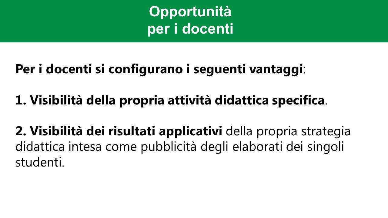 Opportunità per i docenti Per i docenti si configurano i seguenti vantaggi: 1.