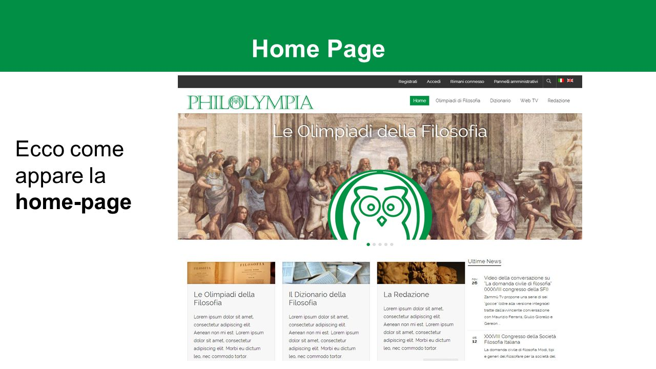 Home Page Ecco come appare la home-page