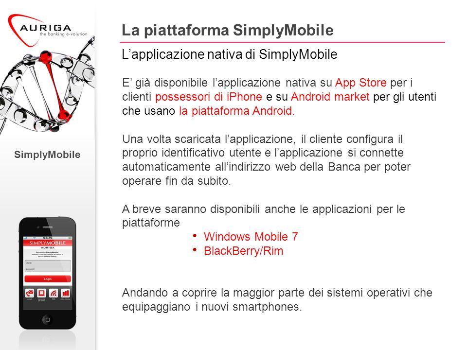 SimplyMobile La piattaforma SimplyMobile L'applicazione nativa di SimplyMobile E' già disponibile l'applicazione nativa su App Store per i clienti possessori di iPhone e su Android market per gli utenti che usano la piattaforma Android.