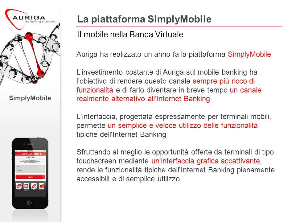 Auriga ha realizzato un anno fa la piattaforma SimplyMobile L'investimento costante di Auriga sul mobile banking ha l'obiettivo di rendere questo canale sempre più ricco di funzionalità e di farlo diventare in breve tempo un canale realmente alternativo all'Internet Banking.