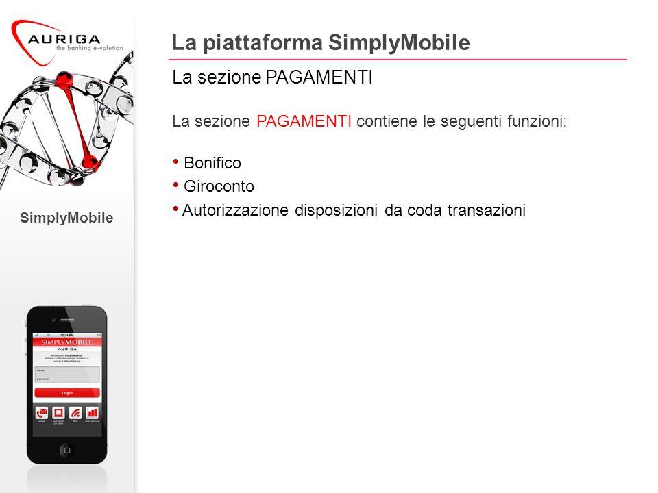 SimplyMobile La sezione PAGAMENTI contiene le seguenti funzioni: Bonifico Giroconto Autorizzazione disposizioni da coda transazioni La piattaforma SimplyMobile La sezione PAGAMENTI