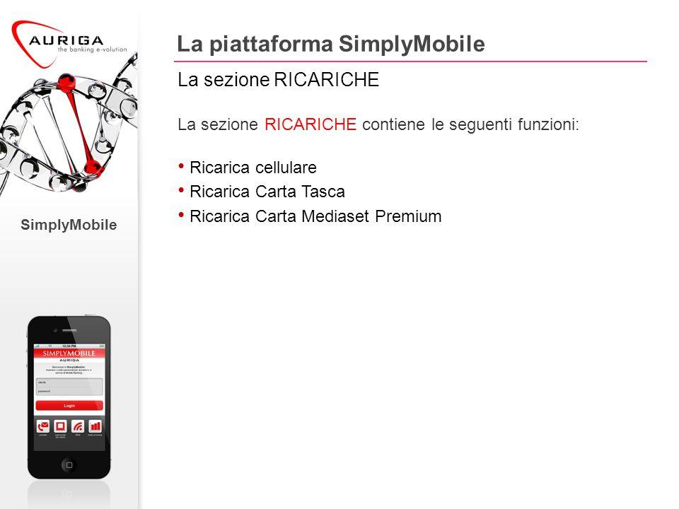 SimplyMobile La sezione RICARICHE contiene le seguenti funzioni: Ricarica cellulare Ricarica Carta Tasca Ricarica Carta Mediaset Premium La piattaforma SimplyMobile La sezione RICARICHE