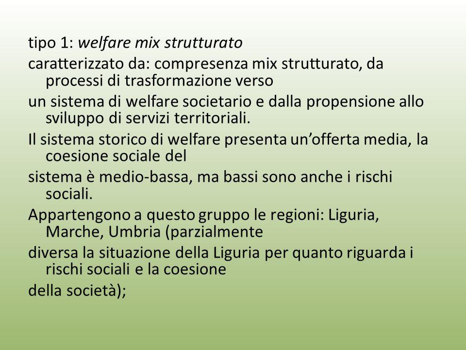 tipo 1: welfare mix strutturato caratterizzato da: compresenza mix strutturato, da processi di trasformazione verso un sistema di welfare societario e dalla propensione allo sviluppo di servizi territoriali.