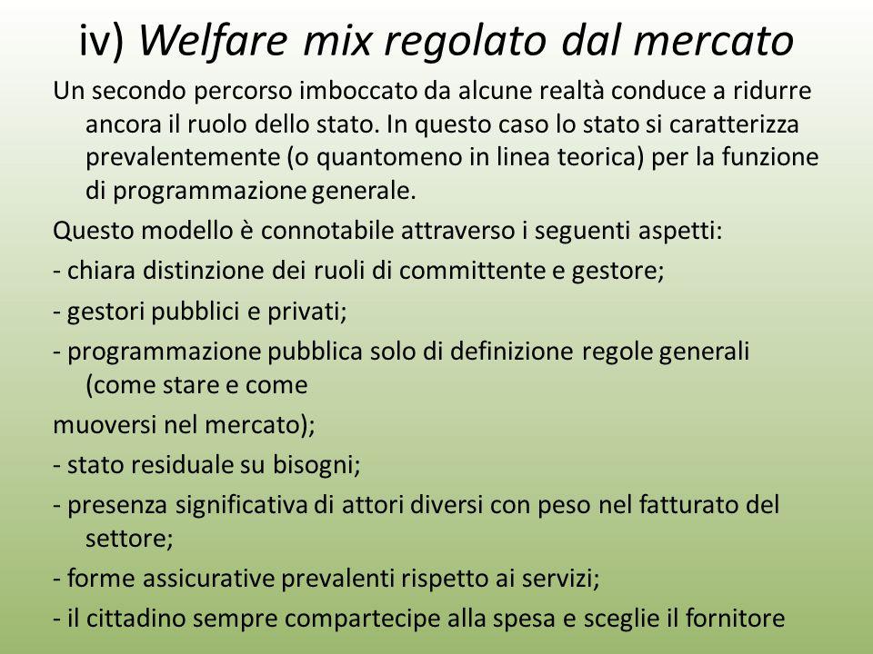 iv) Welfare mix regolato dal mercato Un secondo percorso imboccato da alcune realtà conduce a ridurre ancora il ruolo dello stato.