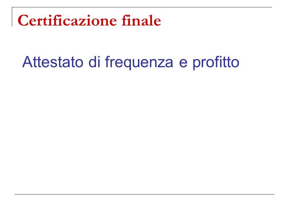 Certificazione finale Attestato di frequenza e profitto