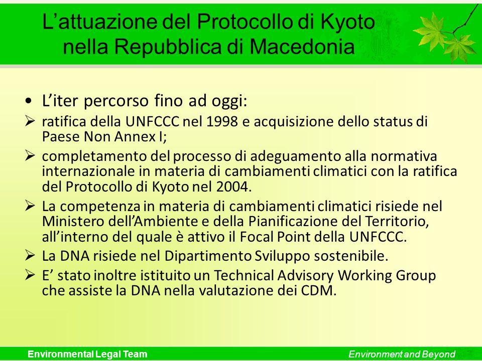 Environmental Legal TeamEnvironment and Beyond L'attuazione del Protocollo di Kyoto nella Repubblica di Macedonia L'iter percorso fino ad oggi:  rati