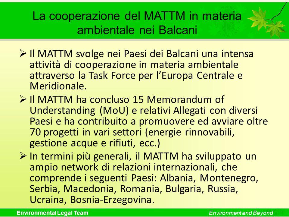 Environmental Legal TeamEnvironment and Beyond La cooperazione del MATTM in materia ambientale nei Balcani  Il MATTM svolge nei Paesi dei Balcani una