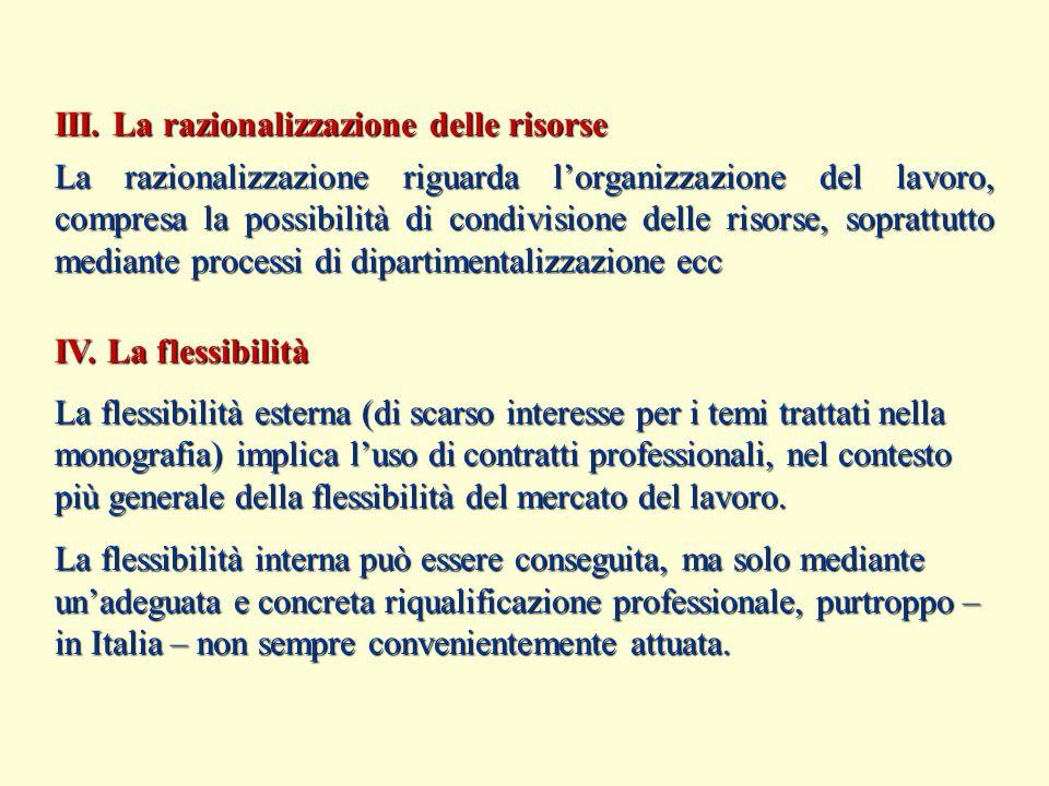 III. La razionalizzazione delle risorse La razionalizzazione riguarda l'organizzazione del lavoro, compresa la possibilità di condivisione delle risor