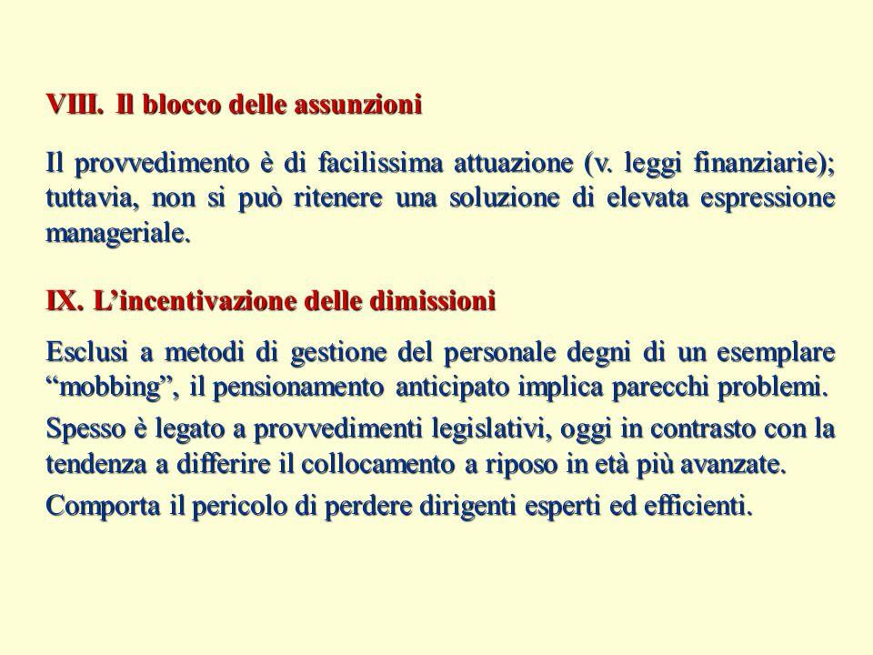 VIII. Il blocco delle assunzioni IX. L'incentivazione delle dimissioni Il provvedimento è di facilissima attuazione (v. leggi finanziarie); tuttavia,