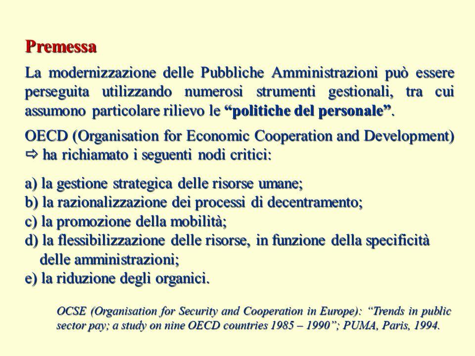 Premessa La modernizzazione delle Pubbliche Amministrazioni può essere perseguita utilizzando numerosi strumenti gestionali, tra cui assumono particolare rilievo le politiche del personale .