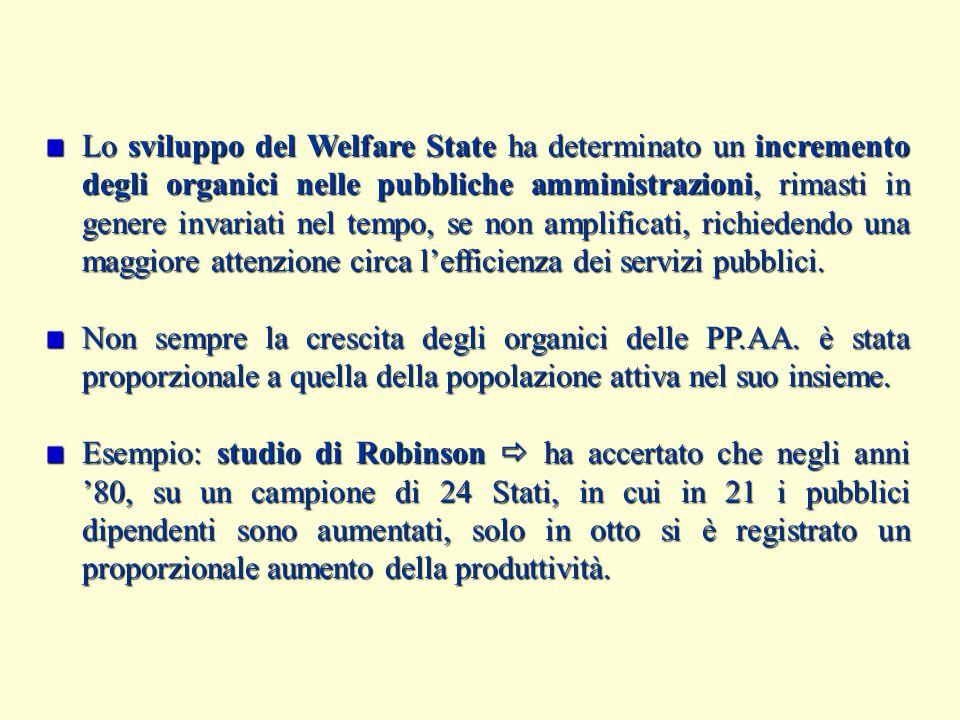 Lo sviluppo del Welfare State ha determinato un incremento degli organici nelle pubbliche amministrazioni, rimasti in genere invariati nel tempo, se non amplificati, richiedendo una maggiore attenzione circa l'efficienza dei servizi pubblici.