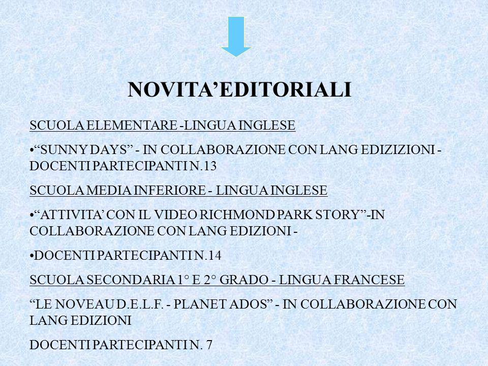 SCUOLA ELEMENTARE -LINGUA INGLESE SUNNY DAYS - IN COLLABORAZIONE CON LANG EDIZIZIONI - DOCENTI PARTECIPANTI N.13 SCUOLA MEDIA INFERIORE - LINGUA INGLESE ATTIVITA' CON IL VIDEO RICHMOND PARK STORY -IN COLLABORAZIONE CON LANG EDIZIONI - DOCENTI PARTECIPANTI N.14 SCUOLA SECONDARIA 1° E 2° GRADO - LINGUA FRANCESE LE NOVEAU D.E.L.F.