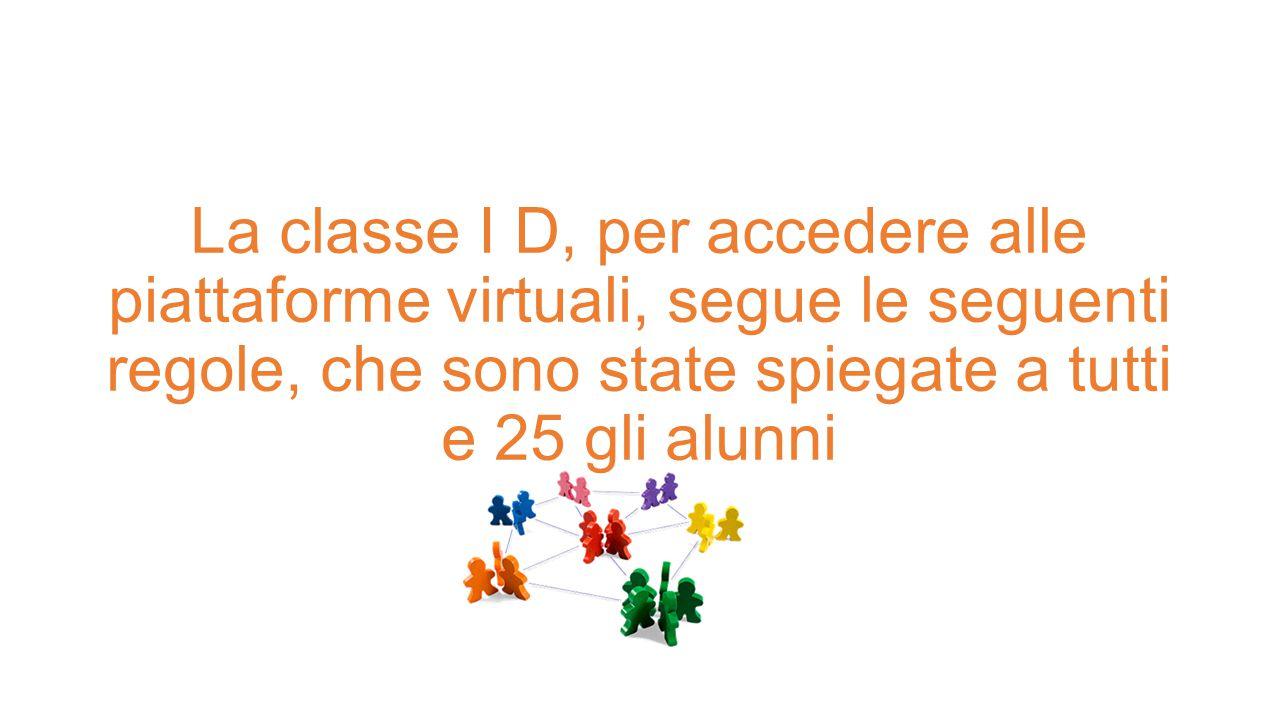 La classe I D, per accedere alle piattaforme virtuali, segue le seguenti regole, che sono state spiegate a tutti e 25 gli alunni