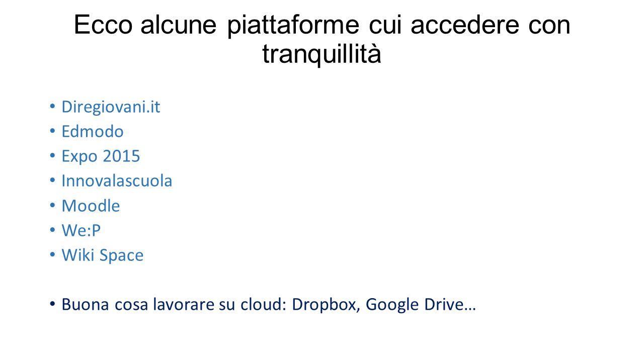 Ecco alcune piattaforme cui accedere con tranquillità Diregiovani.it Edmodo Expo 2015 Innovalascuola Moodle We:P Wiki Space Buona cosa lavorare su cloud: Dropbox, Google Drive…