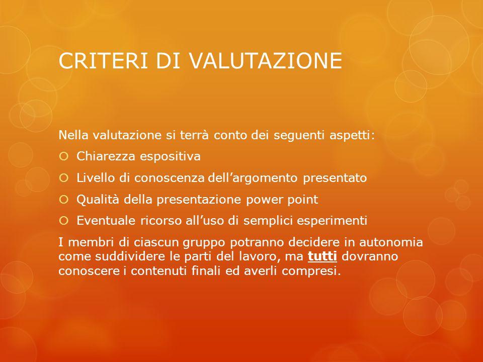 CRITERI DI VALUTAZIONE Nella valutazione si terrà conto dei seguenti aspetti:  Chiarezza espositiva  Livello di conoscenza dell'argomento presentato