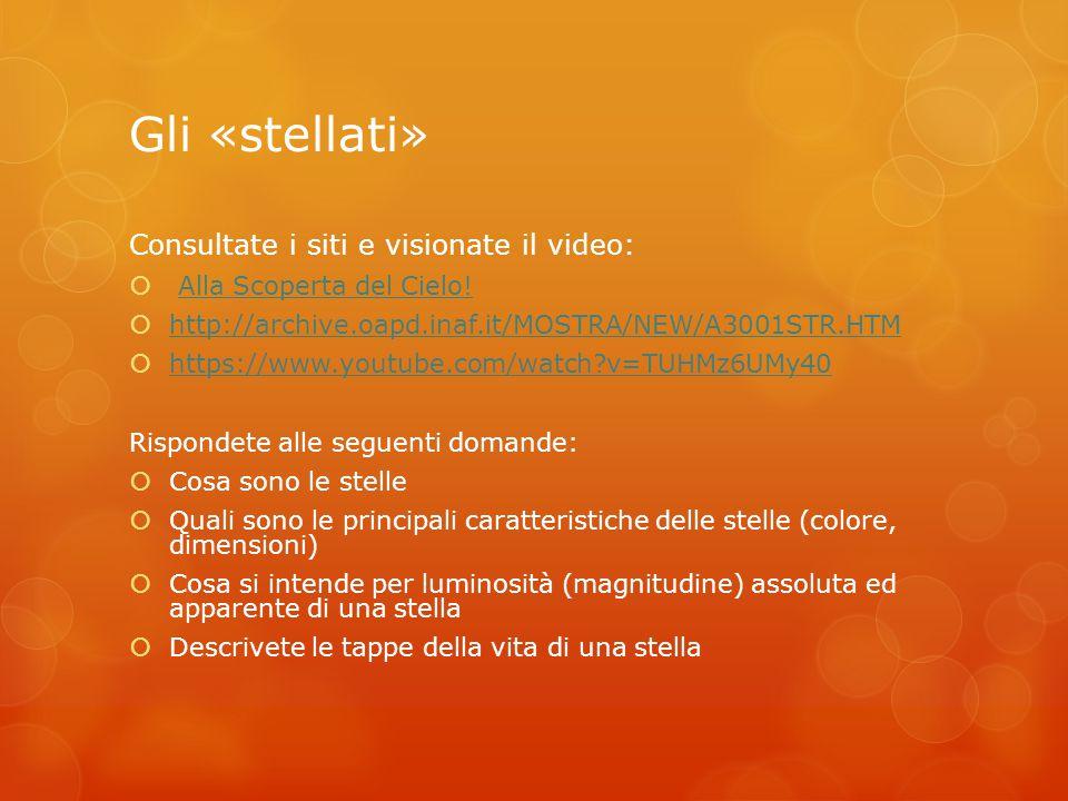 Gli «stellati» Consultate i siti e visionate il video:  Alla Scoperta del Cielo!Alla Scoperta del Cielo!  http://archive.oapd.inaf.it/MOSTRA/NEW/A30