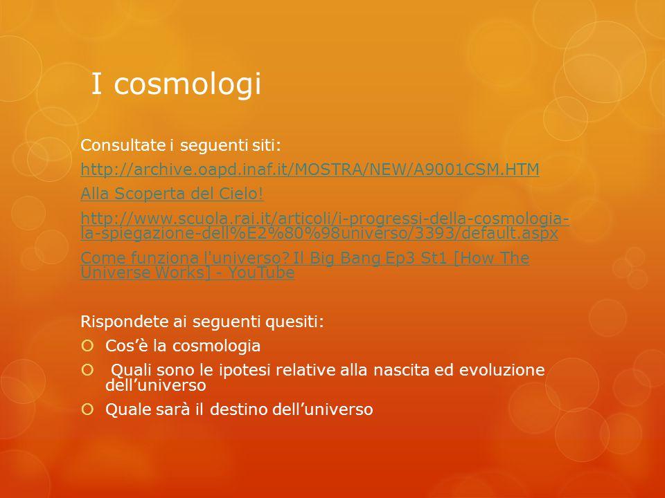 I cosmologi Consultate i seguenti siti: http://archive.oapd.inaf.it/MOSTRA/NEW/A9001CSM.HTM Alla Scoperta del Cielo! http://www.scuola.rai.it/articoli