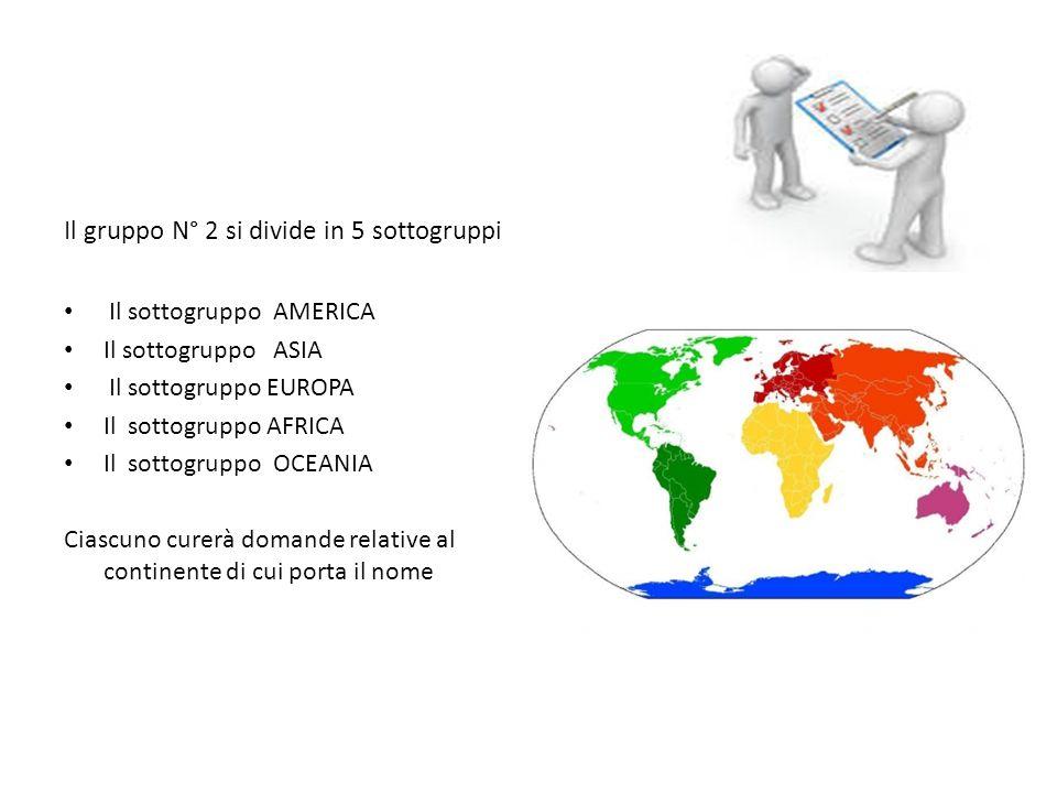 geografia Il gruppo N° 2 si divide in 5 sottogruppi Il sottogruppo AMERICA Il sottogruppo ASIA Il sottogruppo EUROPA Il sottogruppo AFRICA Il sottogruppo OCEANIA Ciascuno curerà domande relative al continente di cui porta il nome