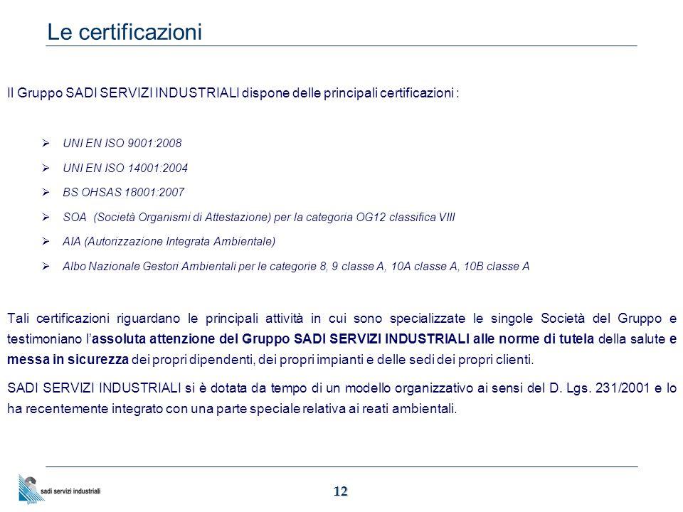 12 Il Gruppo SADI SERVIZI INDUSTRIALI dispone delle principali certificazioni :  UNI EN ISO 9001:2008  UNI EN ISO 14001:2004  BS OHSAS 18001:2007  SOA (Società Organismi di Attestazione) per la categoria OG12 classifica VIII  AIA (Autorizzazione Integrata Ambientale)  Albo Nazionale Gestori Ambientali per le categorie 8, 9 classe A, 10A classe A, 10B classe A Tali certificazioni riguardano le principali attività in cui sono specializzate le singole Società del Gruppo e testimoniano l'assoluta attenzione del Gruppo SADI SERVIZI INDUSTRIALI alle norme di tutela della salute e messa in sicurezza dei propri dipendenti, dei propri impianti e delle sedi dei propri clienti.