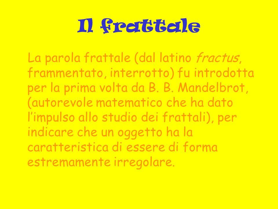 Il frattale I frattali sono figure geometriche caratterizzate dal ripetersi sino all infinito di uno stesso motivo su scala sempre più ridotta.