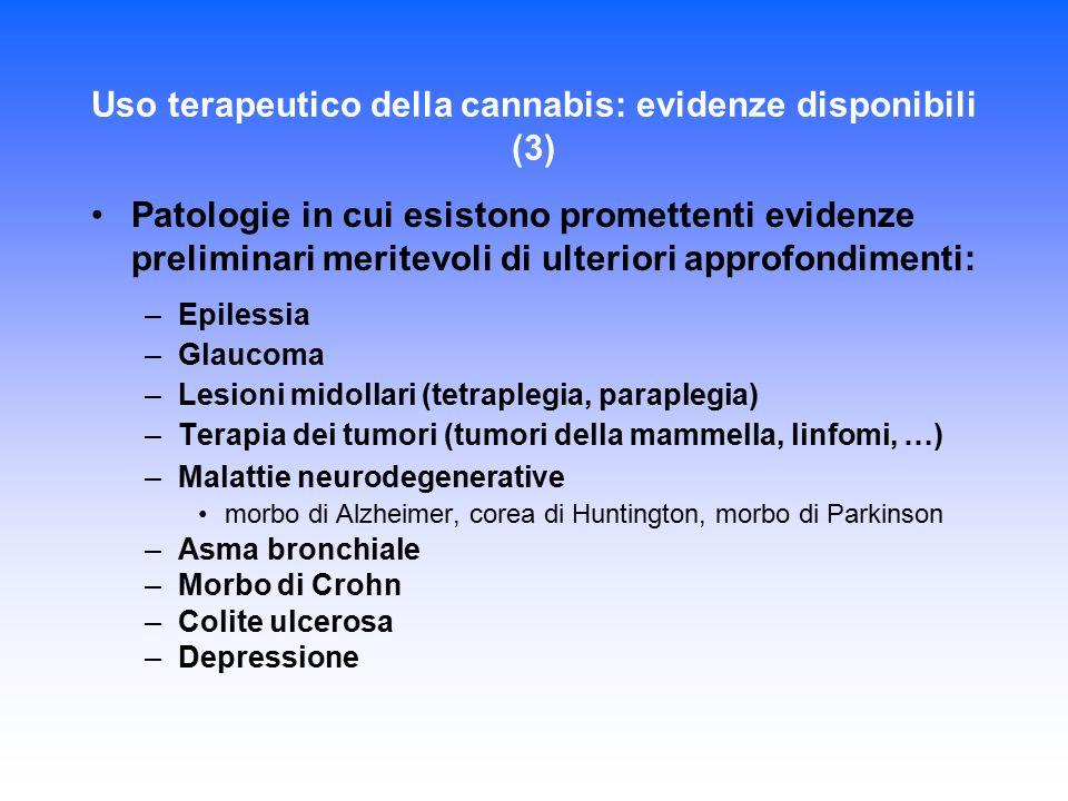 Uso terapeutico della cannabis: evidenze disponibili (3) Patologie in cui esistono promettenti evidenze preliminari meritevoli di ulteriori approfondi