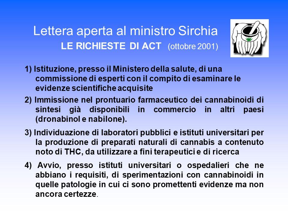 Lettera aperta al ministro Sirchia LE RICHIESTE DI ACT (ottobre 2001) 1) Istituzione, presso il Ministero della salute, di una commissione di esperti