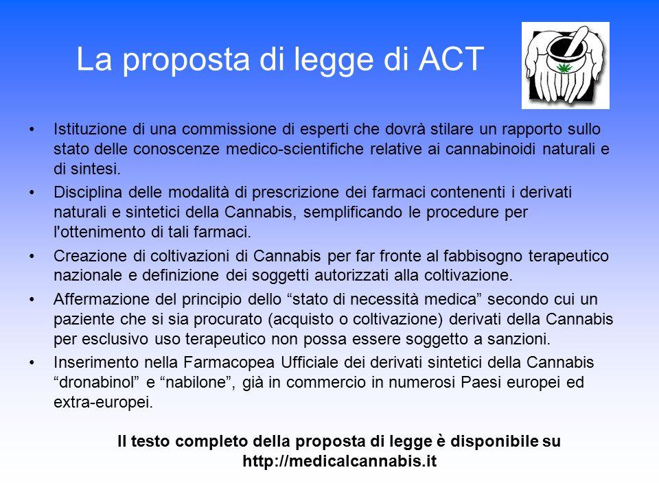 La proposta di legge di ACT Istituzione di una commissione di esperti che dovrà stilare un rapporto sullo stato delle conoscenze medico-scientifiche r