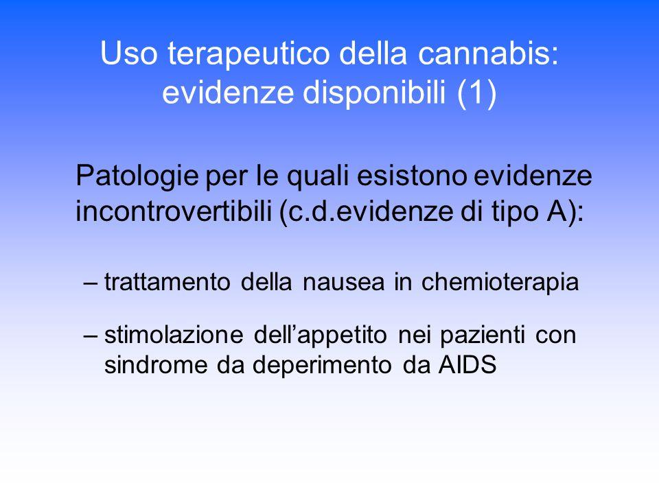 Uso terapeutico della cannabis: evidenze disponibili (1) Patologie per le quali esistono evidenze incontrovertibili (c.d.evidenze di tipo A): –trattamento della nausea in chemioterapia –stimolazione dell'appetito nei pazienti con sindrome da deperimento da AIDS