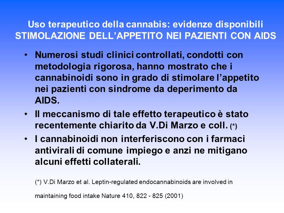 Uso terapeutico della cannabis: evidenze disponibili STIMOLAZIONE DELL'APPETITO NEI PAZIENTI CON AIDS Numerosi studi clinici controllati, condotti con
