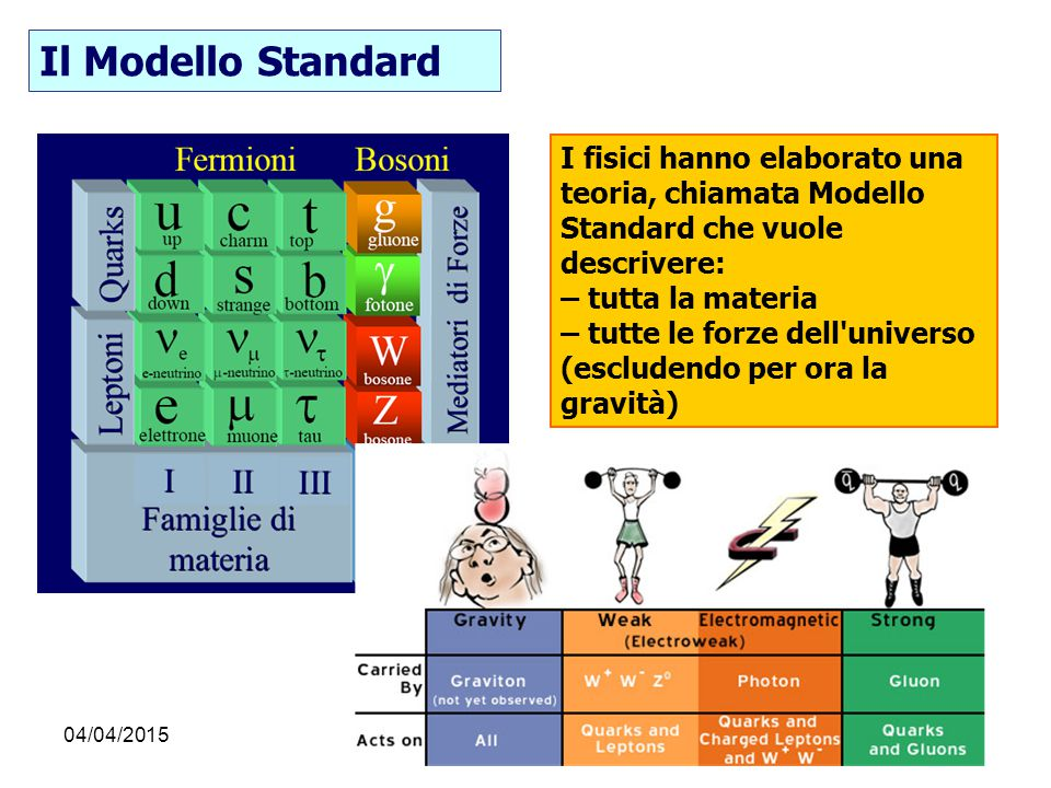 04/04/2015F. Conventi I fisici hanno elaborato una teoria, chiamata Modello Standard che vuole descrivere: – tutta la materia – tutte le forze dell'un