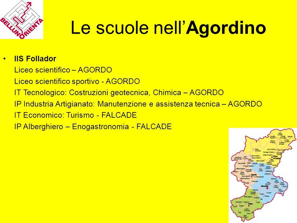 Le scuole nell'Agordino IIS Follador Liceo scientifico – AGORDO Liceo scientifico sportivo - AGORDO IT Tecnologico: Costruzioni geotecnica, Chimica –