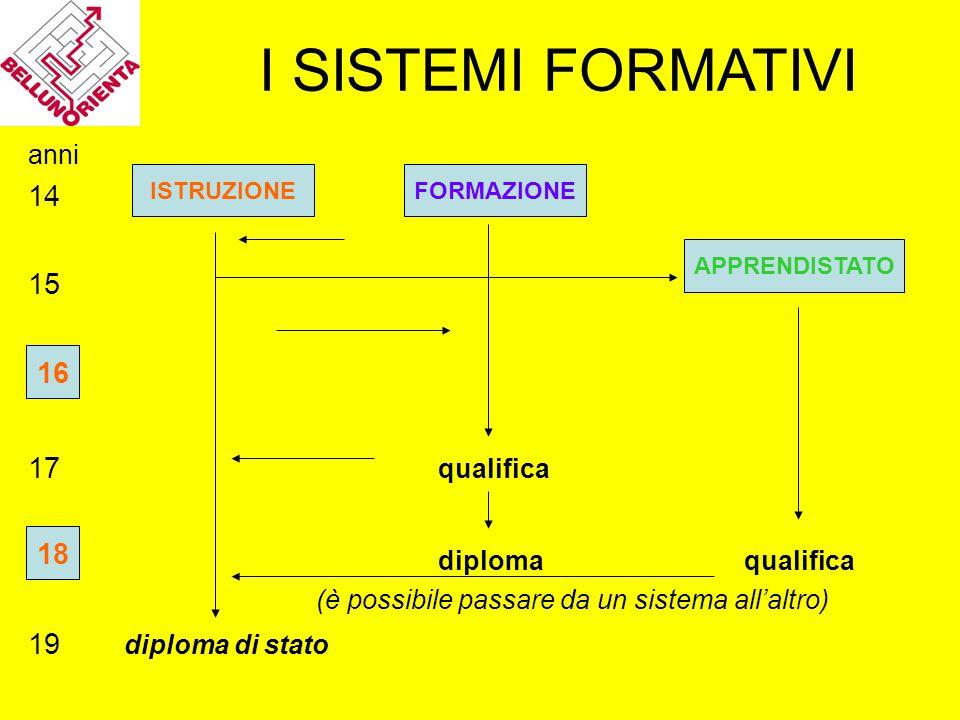 I SISTEMI FORMATIVI anni 14 15 16 17 qualifica diploma qualifica (è possibile passare da un sistema all'altro) 19 diploma di stato ISTRUZIONEFORMAZION