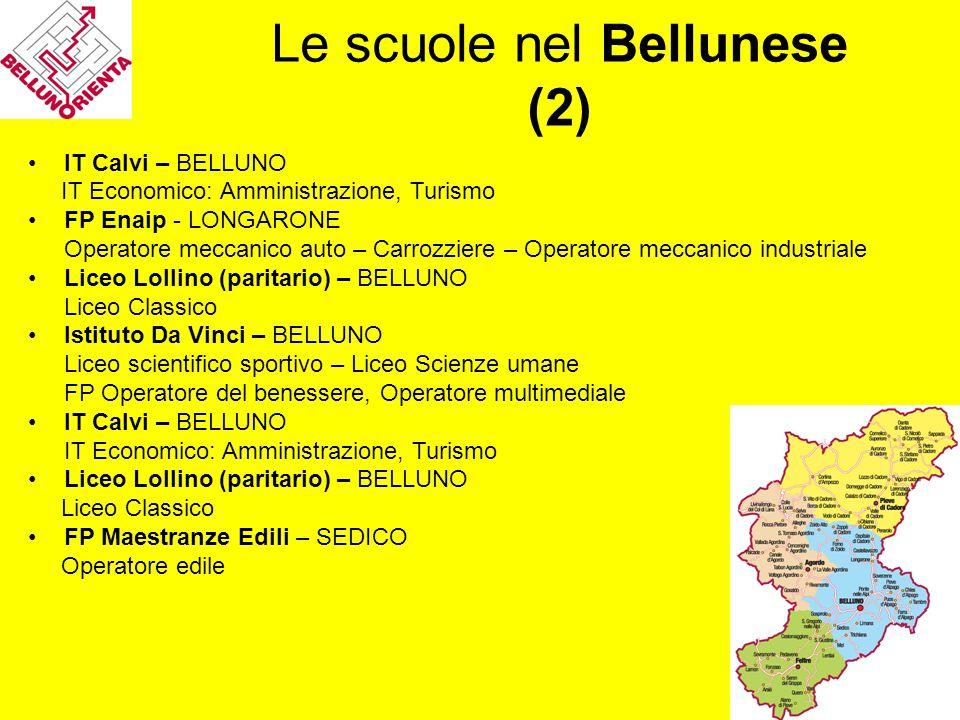 Le scuole nel Bellunese (2) IT Calvi – BELLUNO IT Economico: Amministrazione, Turismo FP Enaip - LONGARONE Operatore meccanico auto – Carrozziere – Op