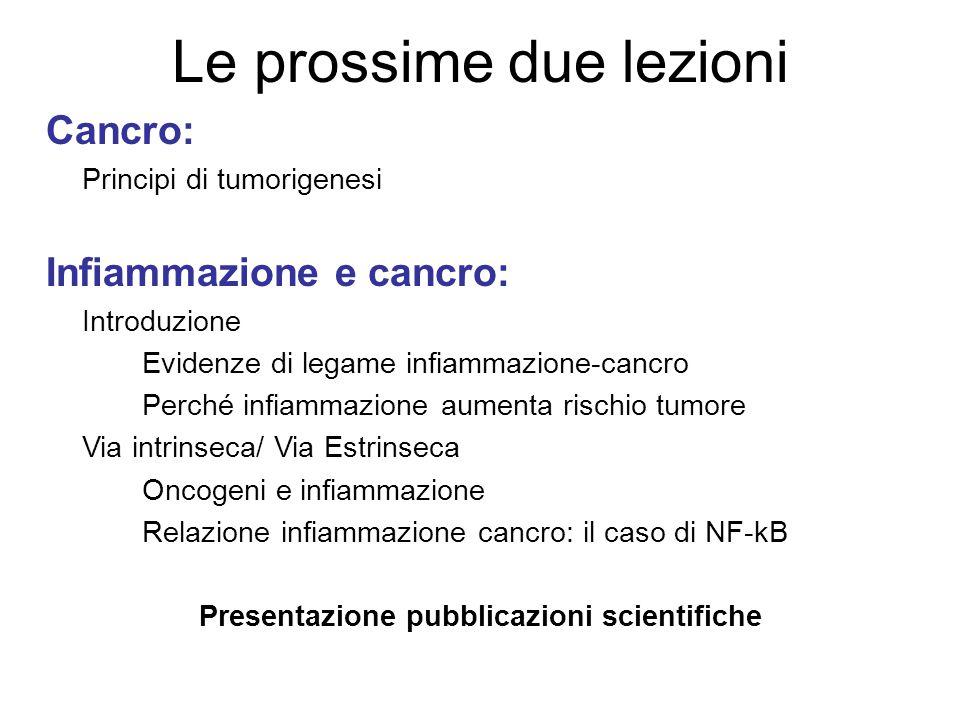 Le prossime due lezioni Cancro: Principi di tumorigenesi Infiammazione e cancro: Introduzione Evidenze di legame infiammazione-cancro Perché infiammaz
