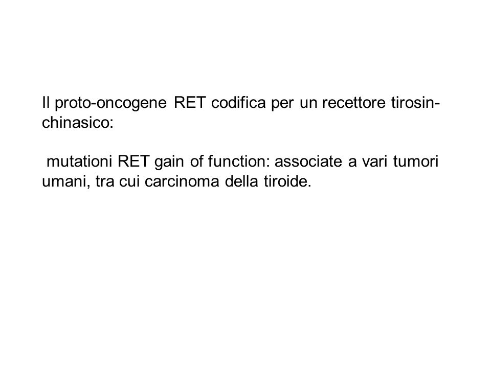 Il proto-oncogene RET codifica per un recettore tirosin- chinasico: mutationi RET gain of function: associate a vari tumori umani, tra cui carcinoma d