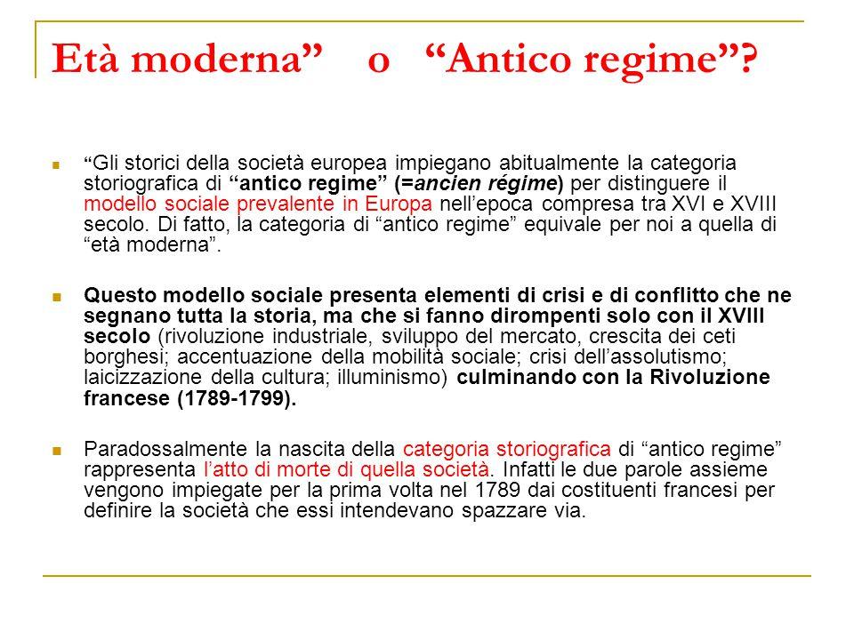 """Età moderna"""" o """"Antico regime""""? """" Gli storici della società europea impiegano abitualmente la categoria storiografica di """"antico regime"""" (=ancien régi"""