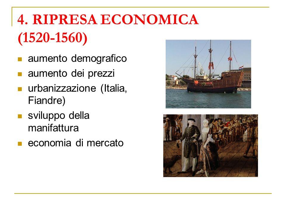 4. RIPRESA ECONOMICA (1520-1560) aumento demografico aumento dei prezzi urbanizzazione (Italia, Fiandre) sviluppo della manifattura economia di mercat